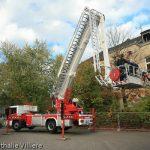 Übung mit dem neuen Teleskopmast der Feuerwehr am 20.10.2008